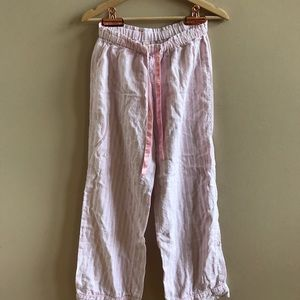VICTORIAS SECRET pink + white stripe pajama pants